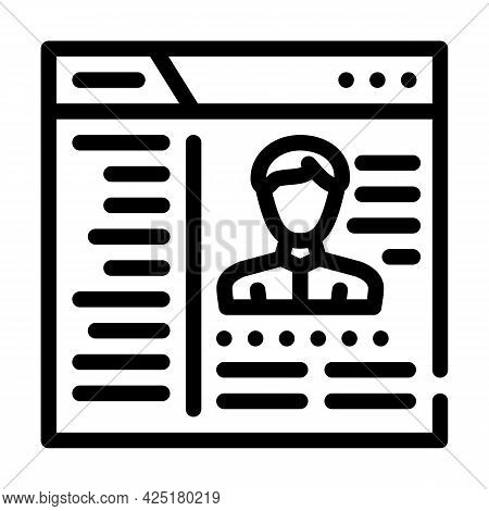 Cms With Data Kyc Line Icon Vector. Cms With Data Kyc Sign. Isolated Contour Symbol Black Illustrati