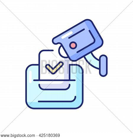 Video Election Observation Rgb Color Icon. Isolated Vector Illustration. Monitoring Polling Stations