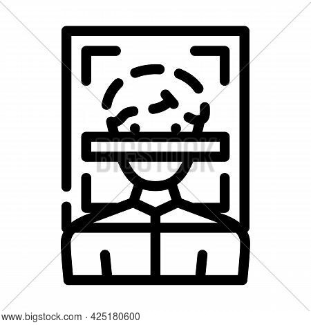 Client Scanning Kyc Line Icon Vector. Client Scanning Kyc Sign. Isolated Contour Symbol Black Illust