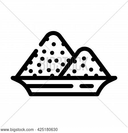 Salt Heap In Plate Line Icon Vector. Salt Heap In Plate Sign. Isolated Contour Symbol Black Illustra