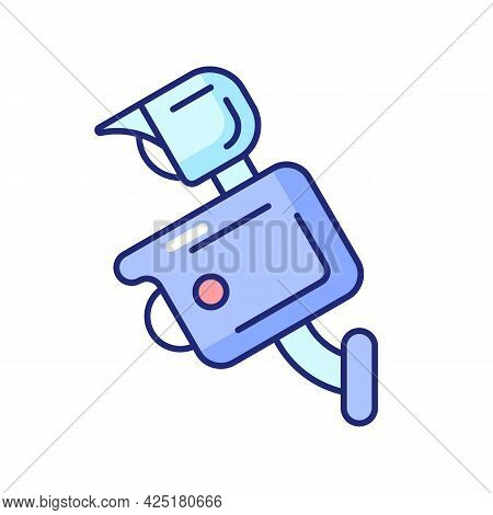 Floodlight Camera Rgb Color Icon. Isolated Vector Illustration. Scaring Away Intruders. Manually Lig
