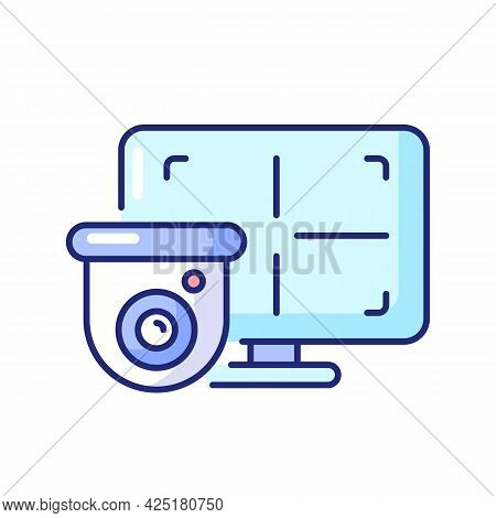 Cctv Monitor Rgb Color Icon. Isolated Vector Illustration. Device For Surveillance Video In Real-tim