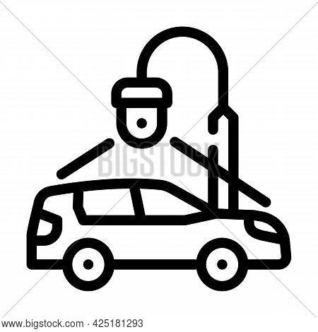 Car Parking Video Surveillance Line Icon Vector. Car Parking Video Surveillance Sign. Isolated Conto