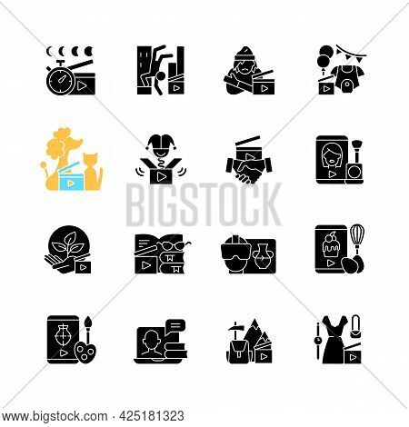 Videography Black Glyph Icons Set On White Space. Business Footage. Online Classes For Education. En