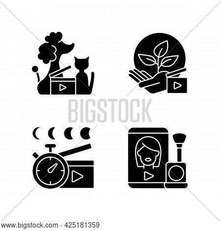 Video Online Black Glyph Icons Set On White Space. Pet Animal Footage. Environmental Awareness. Time