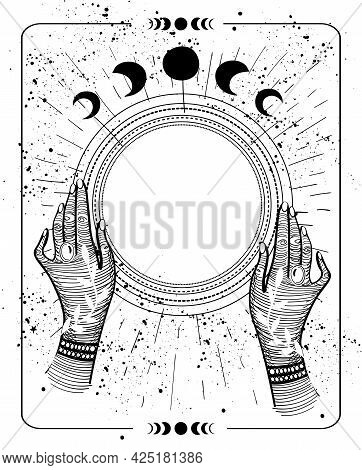 Mystical Drawing Tarot With Copy Space, Magic Ball For Text. Female Hands Hold An Empty Round Frame,