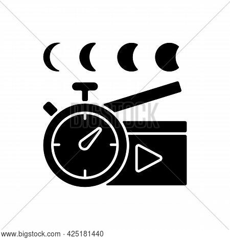 Time Lapse Videos Black Glyph Icon. Shooting Footage Over Night. Clock With Time Passing For Filmmak