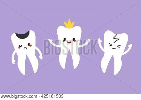 Cute Cartoon Style White Tooth Characters, Healthy With Crown And Tooth With Different Problems, Suc