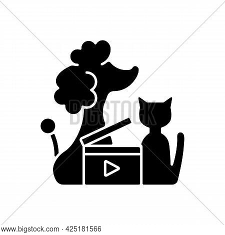 Pet Videos Black Glyph Icon. Online Content With Domestic Animals. Cats And Dogs Vlog. Filmmaking Fo