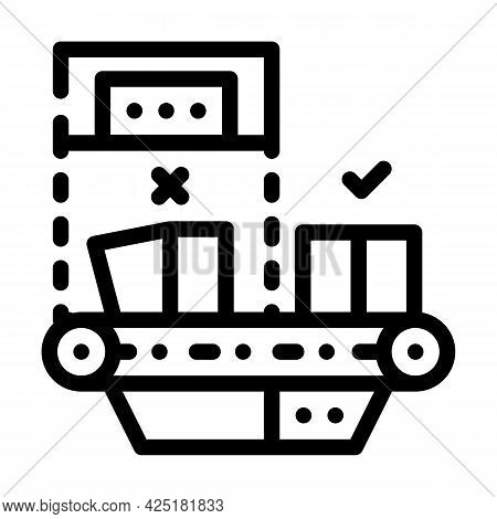 Failure Checking Production Line Icon Vector. Failure Checking Production Sign. Isolated Contour Sym