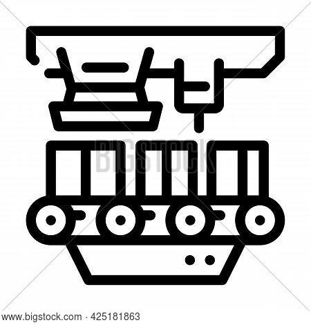 Factory Conveyor Production Line Icon Vector. Factory Conveyor Production Sign. Isolated Contour Sym