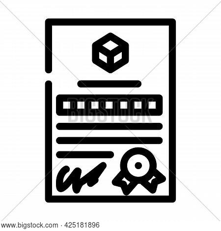 Patent Document For Production Line Icon Vector. Patent Document For Production Sign. Isolated Conto