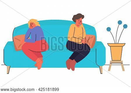 A Man And A Woman Had A Fight. A Girl And A Guy Are Sitting On The Couch Apart. Quarrel, Misundersta