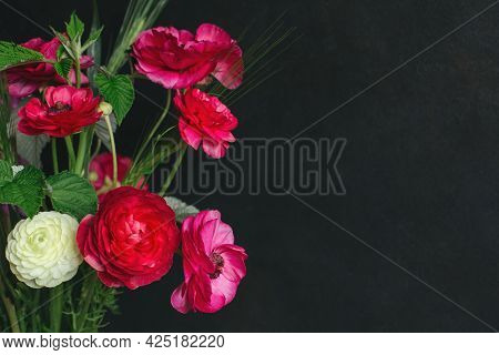Beautiful Summer Flowers On A Dark Background. Selective Focus. Place For Text.