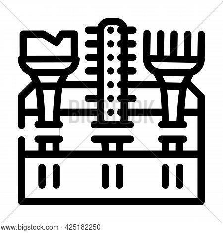 Tool Set Stylist Line Icon Vector. Tool Set Stylist Sign. Isolated Contour Symbol Black Illustration