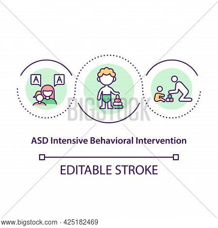 Asd Intensive Behavioral Intervention Concept Icon. Special Medical Treatment Of Communication Probl
