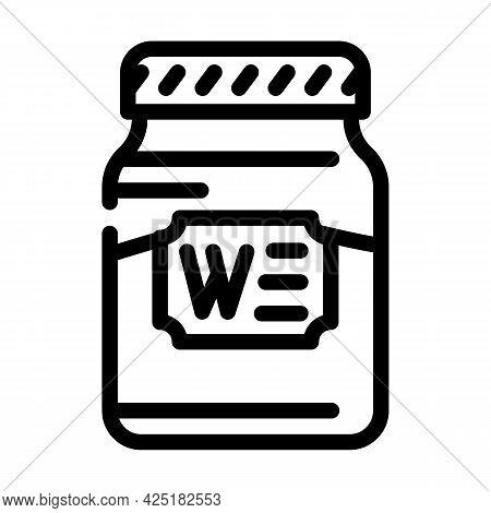 Bottle Jar Wasabi Line Icon Vector. Bottle Jar Wasabi Sign. Isolated Contour Symbol Black Illustrati