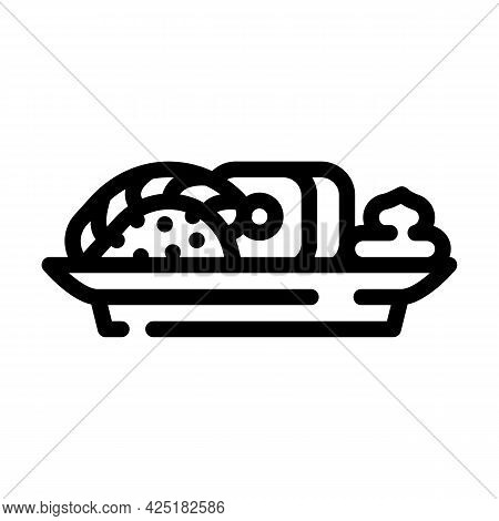 Sushi Japanese Cuisine Meal With Wasabi Line Icon Vector. Sushi Japanese Cuisine Meal With Wasabi Si