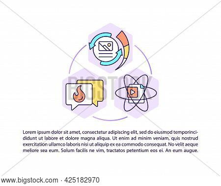 Popular Content Concept Line Icons With Text. Ppt Page Vector Template With Copy Space. Brochure, Ma