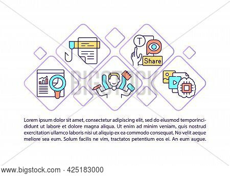 Popular Media Concept Line Icons With Text. Ppt Page Vector Template With Copy Space. Brochure, Maga
