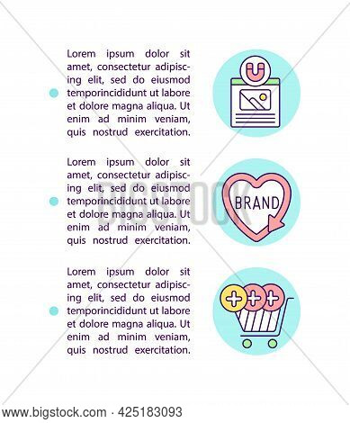 Consideration Leads To Purchase Concept Line Icons With Text. Ppt Page Vector Template With Copy Spa