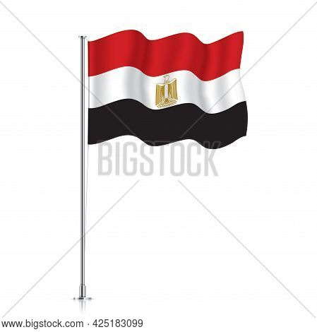 Egypt Flag Waving On A Metallic Pole.