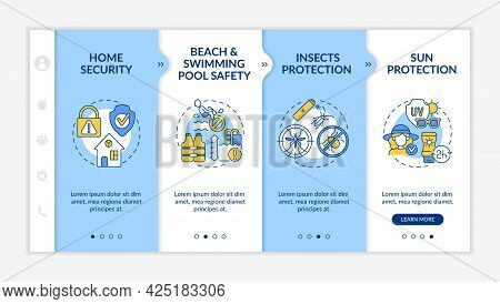 Summer Break Safety Onboarding Vector Template. Responsive Mobile Website With Icons. Web Page Walkt