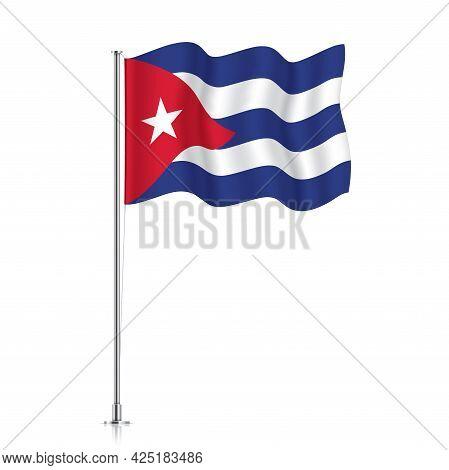 Cuba Flag Waving On A Metallic Pole.