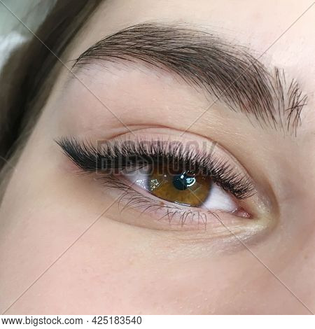 Photo Of Eyes With Extended Eyelashes Arrow Effect, Part Of Makeup.