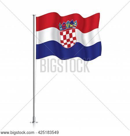 Croatia Flag Waving On A Metallic Pole.