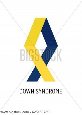 Yellow And Blue Ribbon, Symbol Of World Down Syndrome Day. March 21th. Vector Illustration Of World