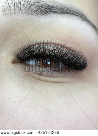 Photo Of Eyes With Extended Eyelashes 3d Effect, Part Of Makeup.