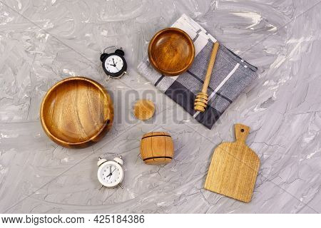 Pile Of Wooden Kitchen Utensils. Top View, Cooking, Cooking Time