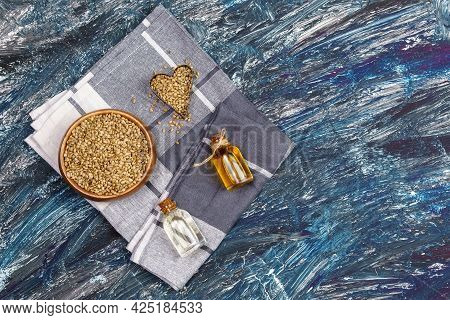 Seed Hemp, Oil In A Glass Jar, Cbd Cannabis Oil. Alternative Herbs For Medicine. Copy Space
