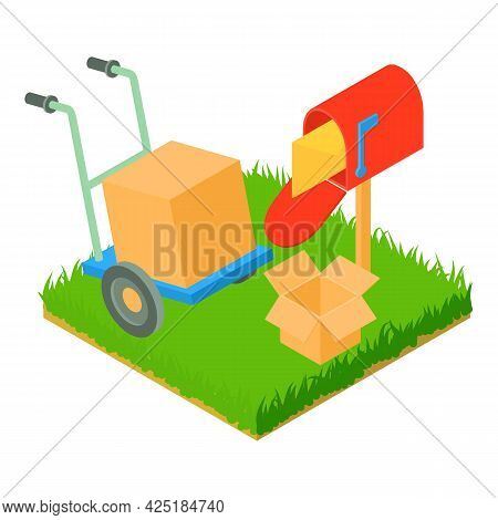 Postal Service Icon Isometric Vector. Letter In Postbox Box In Hand Truck. Post Delivery