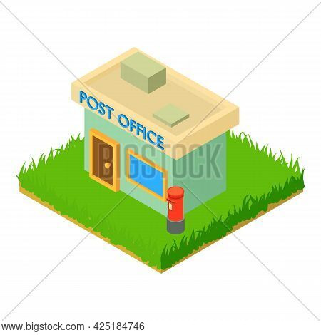 Post Office Icon Isometric Vector. Post Building With Post Box. Postal Service