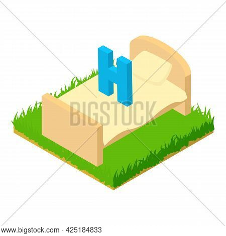 Hotel Icon Isometric Vector. Letter H Above Bed. Hotel Symbol