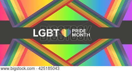 Happy Pride Month Horizontal Banner With Pride Color Striped Ribbon Flag Isolated On Gradient Backgr