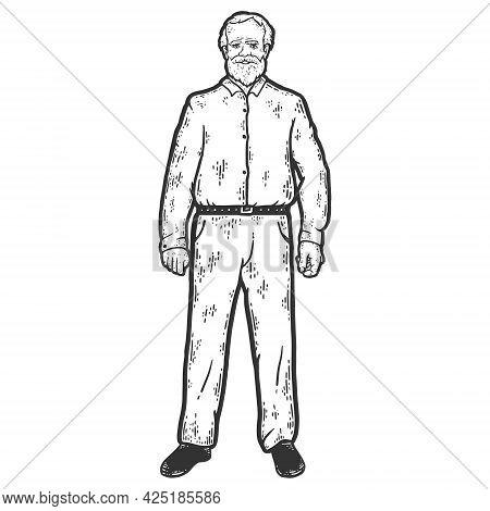 Grandpa Full Height. Sketch Scratch Board Imitation Coloring.