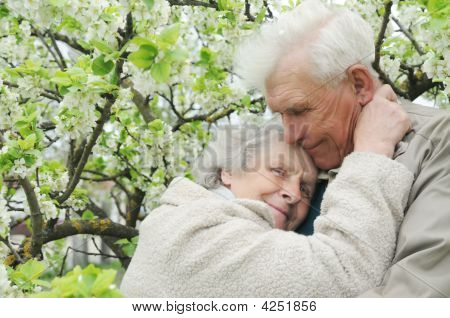 Happy Grandparents Against A Background Of Flowering Garden