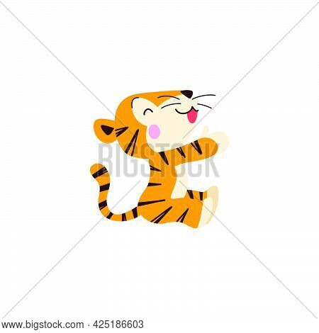 Cute Little Tiger Charactersit And Smile Isolated On White Background. Side View. Vector Flat Hand D