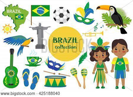 Brazilian Carnival Set Clip Art. Brazil Country Travel Tourism, National Symbols. Collection Of Desi
