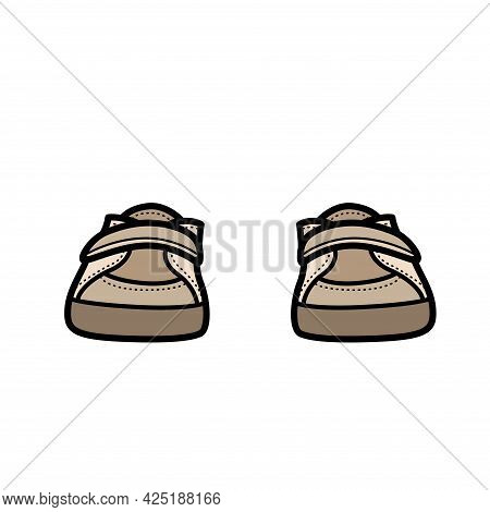 Unisex Velcro Sneakers Color Variation For Coloring On White Background