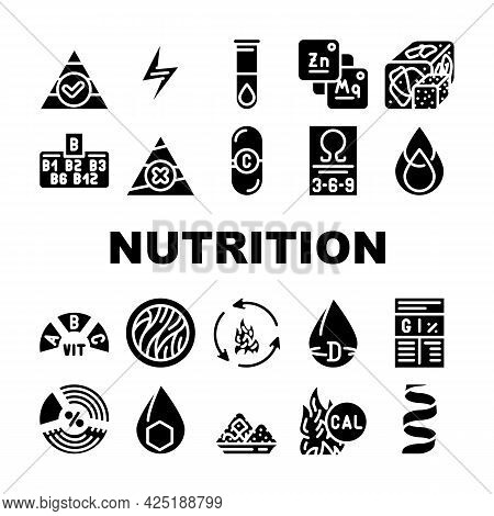 Nutrition Facts Diet Collection Icons Set Vector. Energy Nutrition And Saturated Fat, Vitamin And Ca