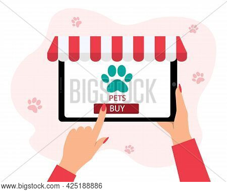 Online Shopping Concept Pets.vector Illustration. A Girl Buys A Pet