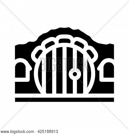 House With Round Door Glyph Icon Vector. House With Round Door Sign. Isolated Contour Symbol Black I