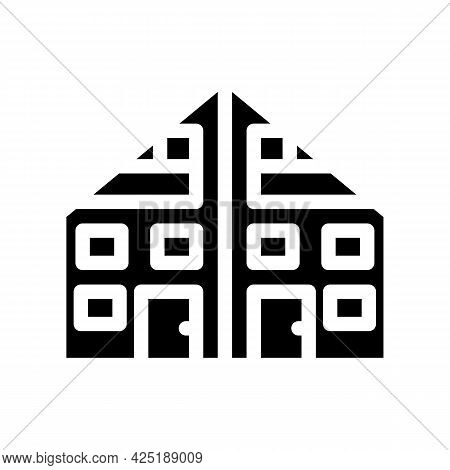 Two Family House Glyph Icon Vector. Two Family House Sign. Isolated Contour Symbol Black Illustratio