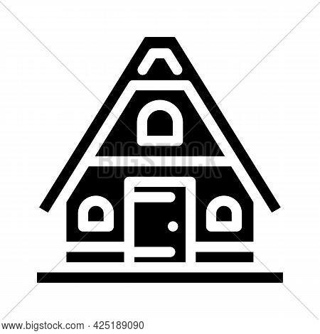 Mountain House Glyph Icon Vector. Mountain House Sign. Isolated Contour Symbol Black Illustration