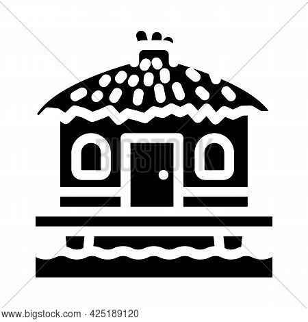 Bungalow On Water House Glyph Icon Vector. Bungalow On Water House Sign. Isolated Contour Symbol Bla