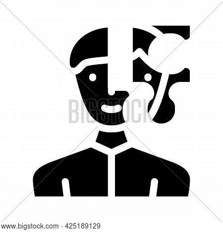 Client Puzzle Kyc Glyph Icon Vector. Client Puzzle Kyc Sign. Isolated Contour Symbol Black Illustrat